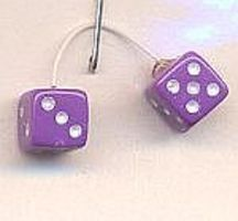 Lavender with White Dots Fuzzi Dice Plastic Model Vehicle Accessory 1/24 Scale #d10