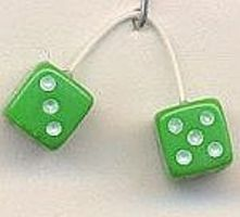 Kens Green with White Dots Fuzzi Dice Plastic Model Car Accessory 1/24 Scale #d12
