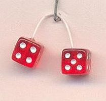 Kens Transparent Red with White Dots Fuzzi Dice Plastic Model Car Accessory 1/24 Scale #d14