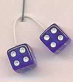 Kens Kustom Kar Supply Blue with White Dots Fuzzi Dice -- Plastic Model Car Accessory -- 1/24 Scale -- #d15