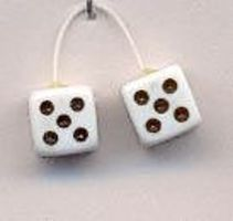White with Black Dots Fuzzi Dice Plastic Model Car Accessory 1/24 Scale #d1