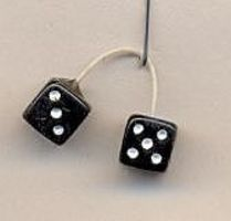 Kens Black with White Dots Fuzzi Dice Plastic Model Car Accessory 1/24 Scale #d2