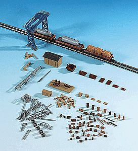 Kibri Freight Yard Accessory Set Kit (Crane, Shed & Details) -- Z Scale Model Railroad Accessory -- #36696