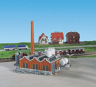 Kibri Warehouse Building Kit (Includes Smoke Stack & Storage Tanks) -- Z Scale Model Railroad -- #36764