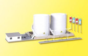 Kibri Twin Fuel Tanks w/Loading Facility Kit N Scale Model Railroad Building #37467
