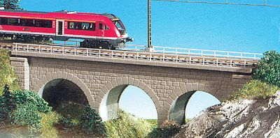 Kibri Straight Stone Viaduct (Gray) N Scale Model Railroad Bridge #37660