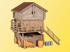 Kibri Wood Barn & Shed HO Scale Model Railroad Building Kit #38035