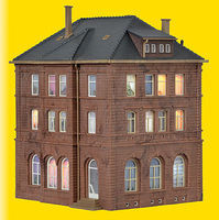 Kibri Railway Building with Lights HO Scale Model Railroad Building Kit #38199