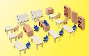 Office Furniture for Technicians Kit HO Scale Model Railroad Building Acce #38655