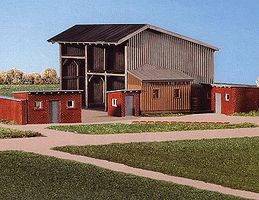 Kibri Large Shed w/smll stables - HO-Scale