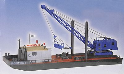 Kibri Working Pontoon with Excavator -- HO Scale Model Railroad Building Kit -- #39156