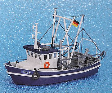 Kibri Shrimp Boat CUX 16 Kit (blue & white) HO Scale Model Railroad Vehicle #39161