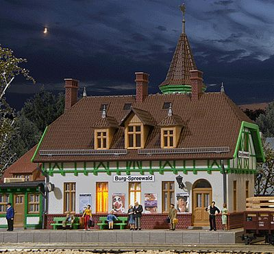 Burg Spreewald Station With Interior Lighting Ho Scale Model Railroad Building Kit 49509 By