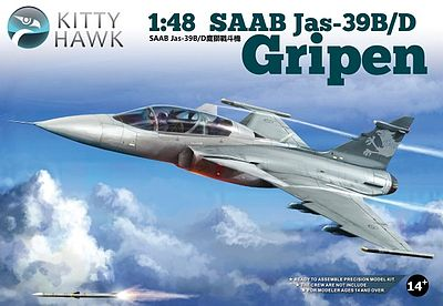Kitty Hawk Models SAAB Jas39B/D Gripen Fighter -- Plastic Model Airplane Kit -- 1/48 Scale -- #80118