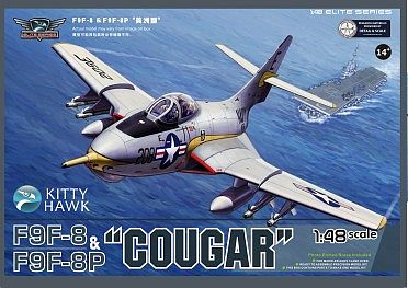 KittyHawk F9F8 Cougar Fighter Plastic Model Airplane Kit 1/48 Scale #80127