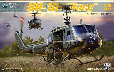 KittyHawk UH1D Huey Helicopter (New Tool) Plastic Model Helicopter Kit 1/48 Scale #80154