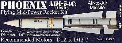 Launch Pad Rocket Kits Phoenix AIM-54C 1.6' -- Skill Level 3 Model Rocket Kit -- #17
