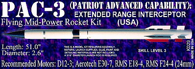 Launch Pad Rocket Kits PAC-3 S.A.M Skill 3