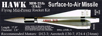 Launch Pad Rocket Kits HAWK MIN-23A 2.6' Skill 3