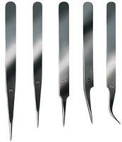 Latina Stainless Steel Extra Fine Tweezer Set 5pc