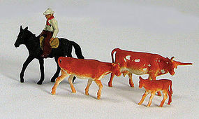 Labelle Cowboy on Horse with 3 Cows HO Scale Model Railroad Figure #7007