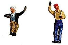 Labelle Contemporary Diesel Engineer & Fireman (Waving & Sitting) HO Scale Model Railroad Figure #7008