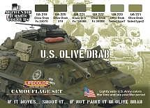Lifecolor US Olive Drab Camouflage Acrylic Set (6 22ml Bottles)