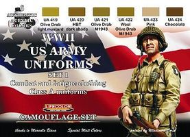 Lifecolor US Army WWII Class A Uniforms #1 Camouflage Acrylic (6 22ml Bottles)