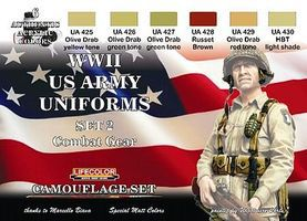 Lifecolor US Army WWII Combat Gear Uniforms #2 Camouflage Acrylic (6 22ml Bottles)