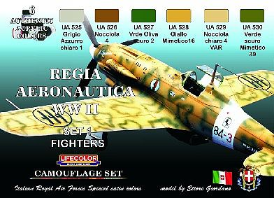 Lifecolor Italian WWII Fighters #1 Camouflage Acrylic Set (6 22ml Bottles)