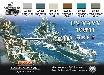 Lifecolor US Navy WWII #2 Camouflage Acrylic Set (6 22ml Bottles)