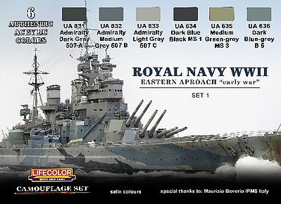 Lifecolor Royal Navy WWII Eastern Early War Set #1 Camouflage Acrylic Set (6 22ml Bottles)