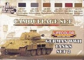 Lifecolor German WWII Tanks #2 Camouflage Acrylic Set (6 22ml Bottles)