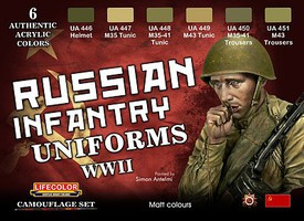 Lifecolor Russian WWII Infantry Uniforms Acrylic Set (6 22ml Bottles)