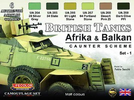 Lifecolor British WWII Tanks Afrika & Balkan Caunter Scheme #1 Acrylic Set (6 22ml Bottles)