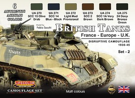 Lifecolor British Tanks France, Europe, UK 1936-45 Disruptive #2 Camouflage Acrylic Set (6 22ml Bottles)