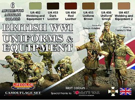 Lifecolor British WWII Uniforms & Equipment Acrylic Set (6 22ml Bottles)