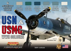 Lifecolor USN & USNMC WWII Camouflage Acrylic Set (6 22ml Bottles)