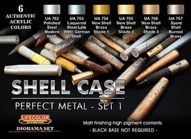 Lifecolor Shell Case Perfect Metal #1 Diorama Acrylic Set (6 22ml Bottles)