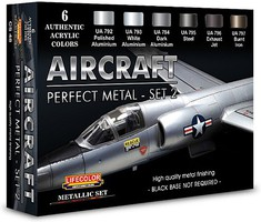 Lifecolor Aircraft Perfect Metal #2 Diorama Acrylic Set (6 22ml Bottles)