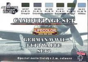 Lifecolor German WWII Luftwaffe #2 Camouflage Acrylic Set (6 22ml Bottles)