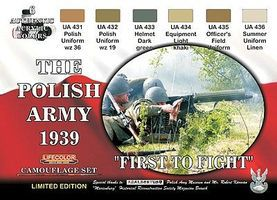 Lifecolor Polish Army 1939 Uniforms Camouflage Acrylic (6 22ml Bottles) Hobby and Model Paint Set #xs5