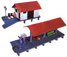 Life-Like Train Station & Platform Kit Model Train Building HO Scale #1347