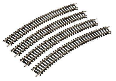 Life-Like 18'' Radius Curve (4) Code 100 Nickel Silver -- Model Train Track -- HO Scale -- #3000