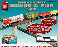 Life-Like Bridge/Pier Set Power-Loc(TM) Model Railroad Bridge HO Scale #8214