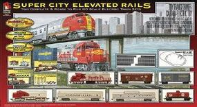 Life-Like Super City Elevated Rails Model Train Set HO Scale #8994