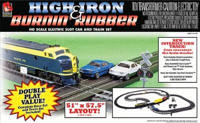 Life-Like Life-Like Racing -- High Iron & Burnin' Rubber Train & Racing Set - HO-Scale