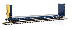 Life-Like-Proto 50 CC&F Bulkhead Flatcar - Ready to Run Ontario Northland #4547 (blue, yellow)