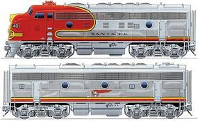 Life-Like-Proto EMD F7A-B Set 48 Dynamic Fan Fan Santa Fe HO Scale Model Train Diesel Locomotive #40698