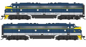 Life-Like-Proto EMD E8A-A Set LokSound Select DCC & Sound Chesapeake & Ohio #4016, 4021 (blue, gray, yellow)
